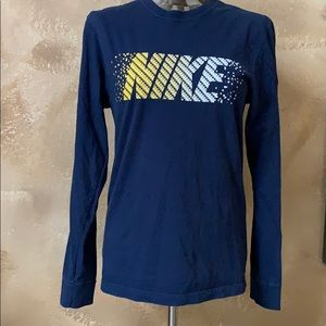 Nike Navy Long Sleeve Logo Front Swoosh Shoulder